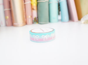 WASHI TAPE 15mm - AQUA/PINK bow + silver holographic bow (Mystery Monday)