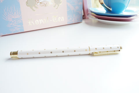 PEN - Gold and White POLKA DOT (Mystery Monday)