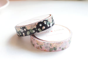 WASHI TAPE 10/10mm set - POLKA DOT ROSE Black/White & Pink/White + lt. gold foil