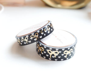 WASHI TAPE 15/10mm bow set - POLKA HEART black and white + lt. gold foil bow (January 10 Release)