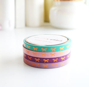 MINI SET WASHI TAPE 5mm BOLD POP HORIZONTAL Bows + coppery rose gold foil  (June 22 release)