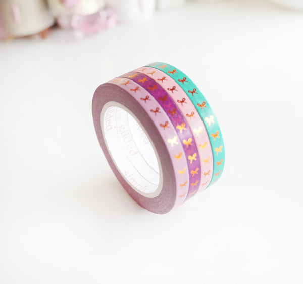 MINI SET WASHI TAPE 5mm BOLD POP VERTICAL bows + coppery rose gold foil (June 22 release)