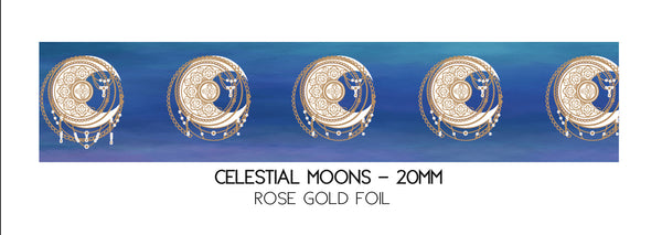 WASHI TAPE 20mm - CELESTIAL MOONS + rose gold (Mystery Monday)