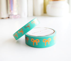 WASHI TAPE 15/10mm bow set EMERALD GREEN + coppery rose gold foil (June 22 release)