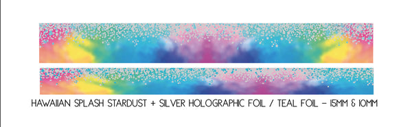 WASHI TAPE 15/10mm set - HAWAIIAN SPLASH STARDUST + silver holographic/teal foil (Mystery Monday)