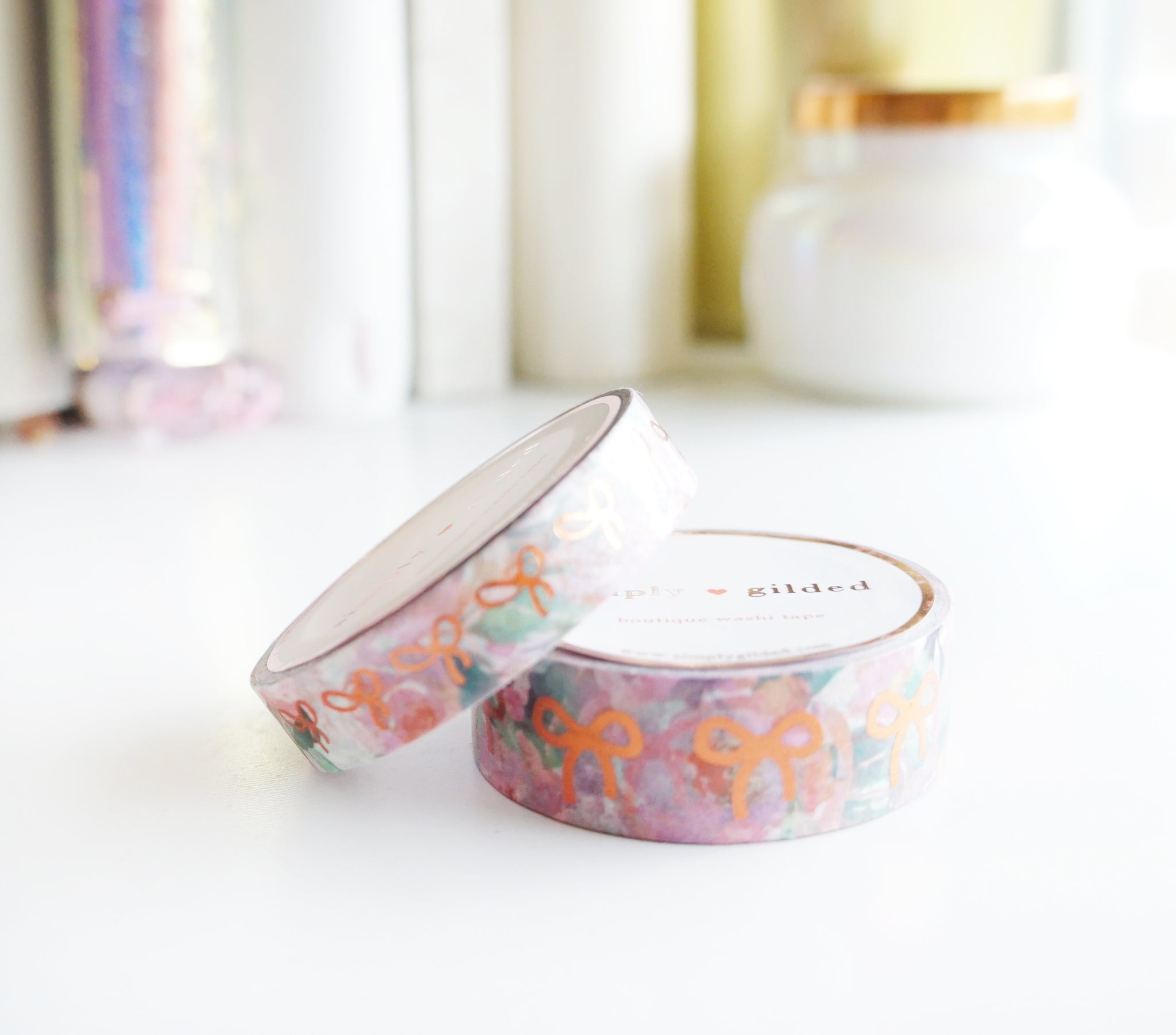 WASHI TAPE 15/10mm BOW set - JUST PEACHY FLORAL + coppery rose gold (Mystery Monday)