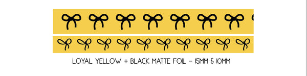 WASHI TAPE 15/10mm bow set LOYAL YELLOW + black foil (October 2019 Release)