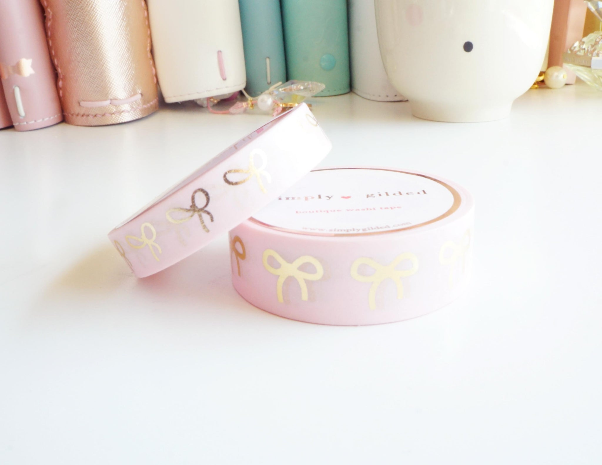 WASHI TAPE 15/10mm bow set - PINK + champagne gold foil