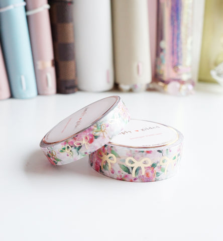 WASHI TAPE 15/10mm BOW set - WHITE & PINK FLORAL + champagne gold (Mystery Monday)