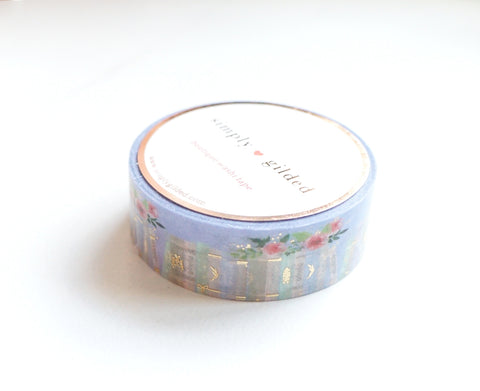 WASHI TAPE 15mm - Periwinkle Pretty BOOKSHELF + light gold foil (January 10 Release)