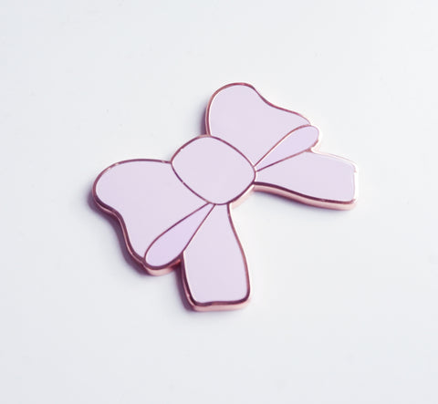 Enamel bow magnet - LIGHT PURPLE + rose gold hardware