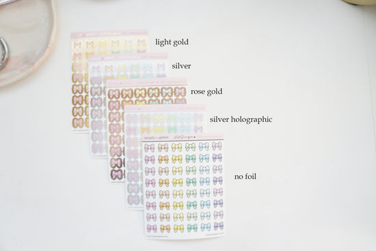 PX28 PASTEL Rainbow BOWS sticker sheet