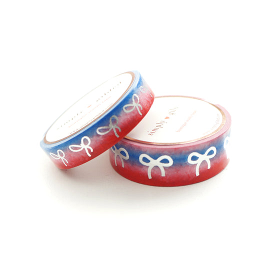 WASHI TAPE 15mm/10mm BOW set - CLASSIC RED/white/true blue VARIATION ombre  + silver (June 22nd Release)