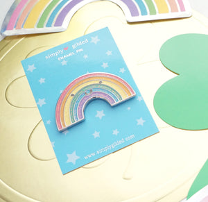PIN - Sparkly happy RAINBOW Pin + SILVER hardware (February 28 Release)