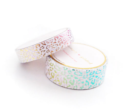 WASHI TAPE 15/10mm - WHITE Leopard + Pastel RAINBOW Foil (February 28 Release)