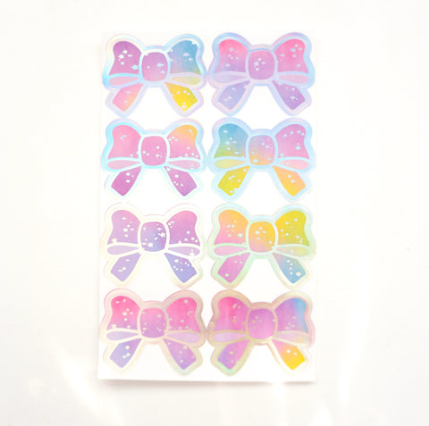 SEALS/LABELS - RAINBOW BRIGHT Bow Seals + silver holo