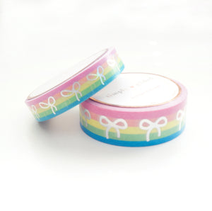 FUNDRAISER WASHI TAPE 15/10mm BOW set - Rainbow STRIPE + holographic silver (May 29th Release)