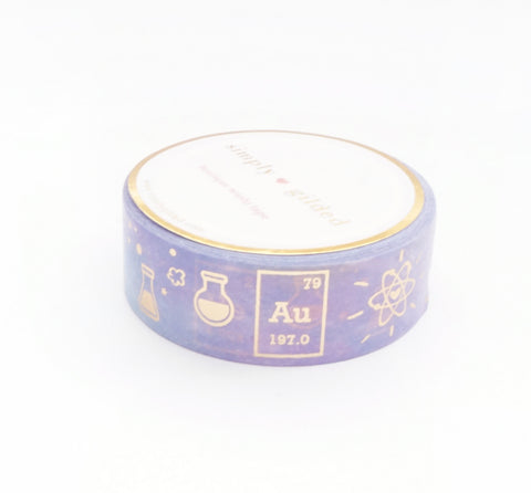 WASHI TAPE 15mm - Rainbow Universe CHEMISTRY love + gold foil (Spring Release)