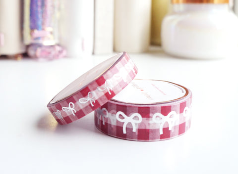 WASHI TAPE 15/10mm bow set - VINTAGE GINGHAM RASPBERRY RED - silver foil