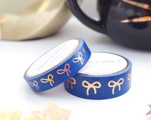 WASHI TAPE 15/10mm bow set RAVEN BLUE + rose gold foil (October 2019 Release)