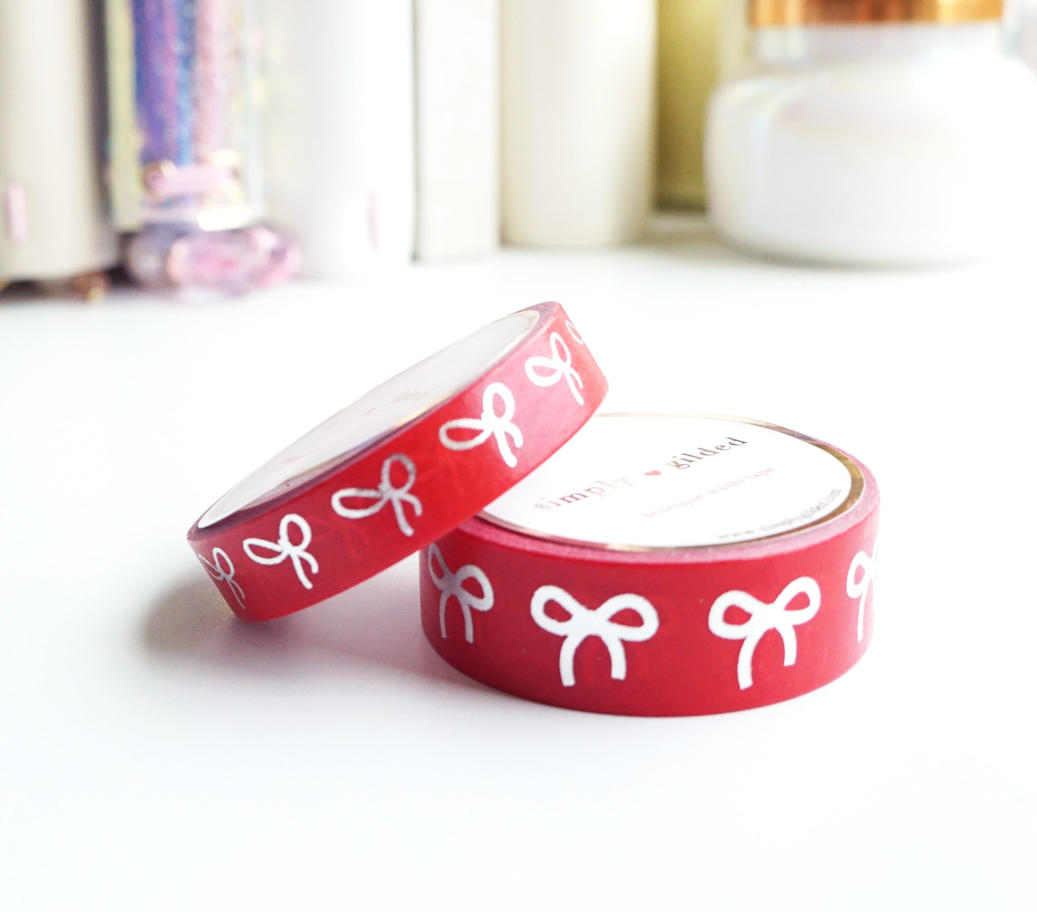WASHI TAPE 15/10mm BOW set - PATRIOTIC RED + silver (Mystery Monday)