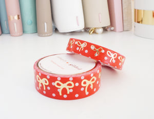 RED & WHITE POLKA DOT and champagne gold foil bow washi tape set
