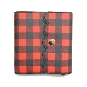 MINI STICKER BOOK - Red & Black Buffalo Plaid + light gold hardware