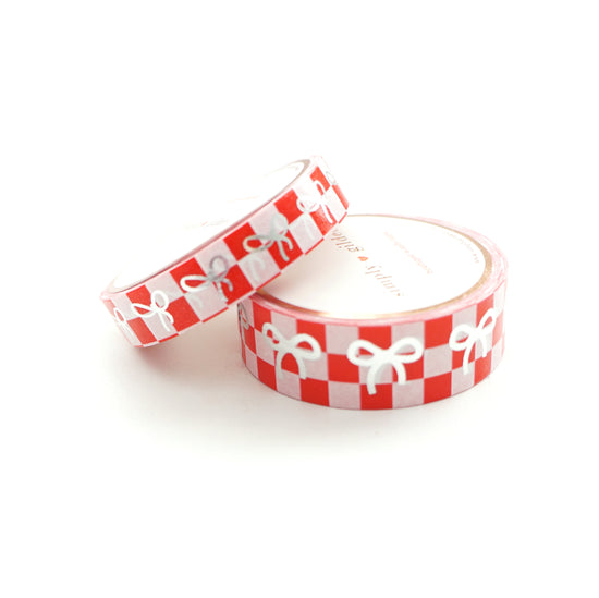 WASHI TAPE 15mm/10mm BOW set - Red/White CHECKERBOARD + silver (June 22nd Release)