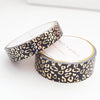 WASHI TAPE 15/10mm set - REGAL Leopard BLACK + champagne gold foil