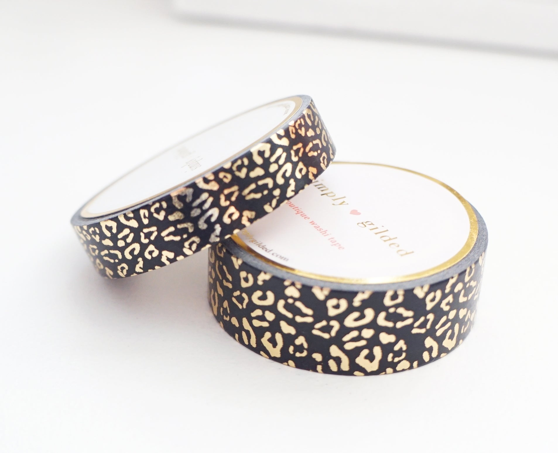 WASHI TAPE 15/10mm set - REGAL Leopard BLACK + champagne gold foil (Black Friday 19 Release)