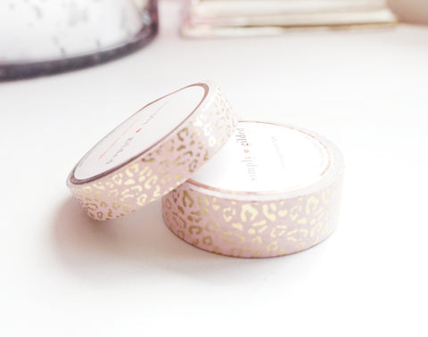 WASHI TAPE 15/10mm set - Regal Leopard BLUSH + Champagne Gold foil (January 31 Mini Release)
