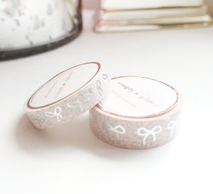 WASHI TAPE 15/10mm BOW set - Soft Pink and Grey LEOPARD BOW + SILVER FOIL