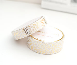 WASHI TAPE 15/10mm set - REGAL Leopard WHITE + champagne gold foil