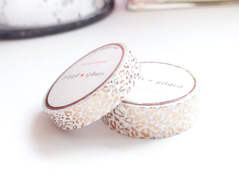 WASHI TAPE 15/10mm set - Regal Leopard WHITE + ROSE GOLD foil (January 31 Mini Release)
