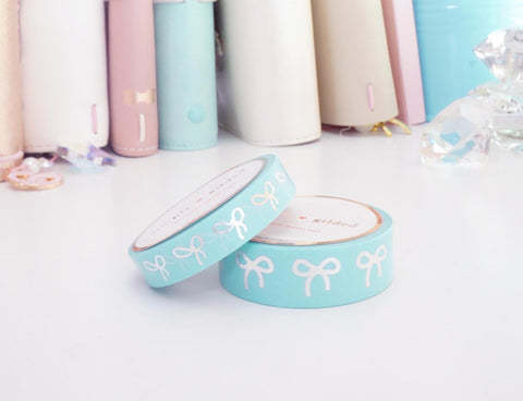 WASHI TAPE 15/10mm bow set - ROBIN'S EGG blue + silver foil bow