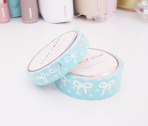 WASHI TAPE 15/10mm bow set -  ROBIN'S EGG blue & WHITE POLKA DOT + silver foil bow