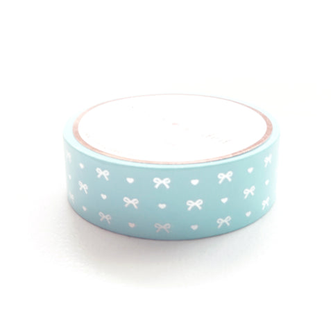 WASHI TAPE 15mm - Robin's Egg Blue HEART & BOW + silver foil (June Mini Release)