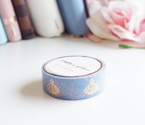 WASHI TAPE 15mm - Royal Tea CROWN + light gold foil (Mystery Monday)