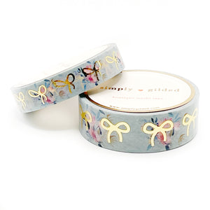 WASHI 15/10mm set SAGE GREEN Floral + light gold foil bow