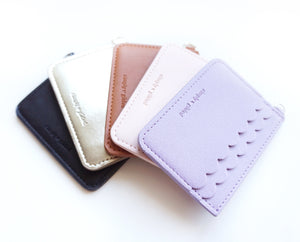 CARD CASE - VEGAN LEATHER SCALLOP POCKET WALLET - YOU PICK COLOR