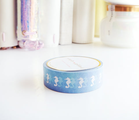 WASHI TAPE 15mm - SEAHORSE DREAMS ombre + silver holographic (MYSTERY MONDAY)