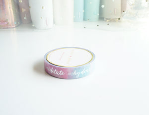 Self care washi tape -SILVER foil words