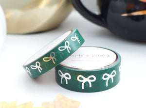 WASHI TAPE 15/10mm bow set SERPENTINE GREEN + silver foil (October 2019 Release)