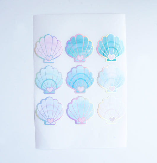 STICKER SEALS -  Watercolor SEASHELLS labels + holographic silver (MYSTERY MONDAY)