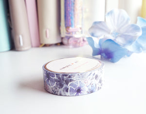 WASHI TAPE 15mm floral - SILVER ANEMONE - silver foil (June 22 release)