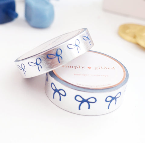 WASHI TAPE 15/10mm BOW set - SILVER FOIL + INVERSE Blue