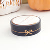 WASHI TAPE 15mm - BLACK Simple Line BOW + ROSE gold foil