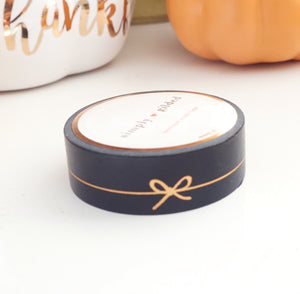 WASHI TAPE 15mm - BLACK Simple Line BOW + ROSE gold foil (October 2019 Release)