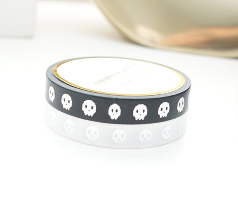WASHI TAPE 7.5mm set of 2 - SKULLS BLACK/WHITE + silver foil (September Release)