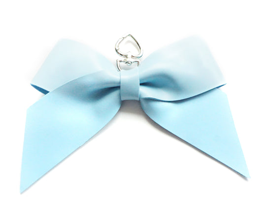 CHARMS/CLIPS - Sky BLUE JumBOW + silver hardware
